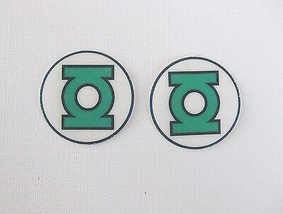 12 PRE CUT EDIBLE RICE WAFER PAPER CARD GREEN LANTERN SUPERHERO CUPCAKE TOPPERS