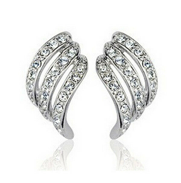 Elements Crystal ANGEL WINGS White Gold Plated Ear Stud Earrings Fashion