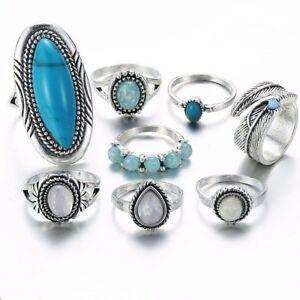 8-Teile-satz-Versilberter-Tuerkis-Opal-Ring-Set-Natuerlicher-Edelstein-Ring