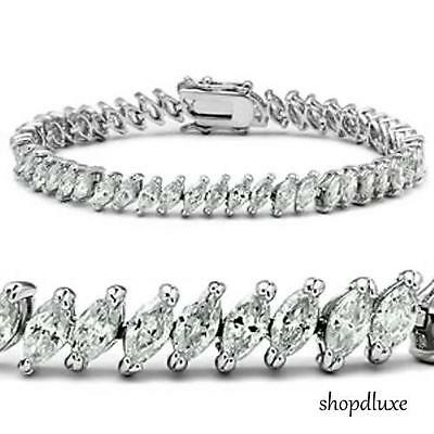 """11.50 CT MARQUISE CUT CUBIC ZIRCONIA .925 STERLING SILVER  7"""" TENNIS BRACELET"""