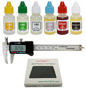 Gold Test Acid Kit Digital Calipers Silver Tester Detector Metal Jewelry Testing
