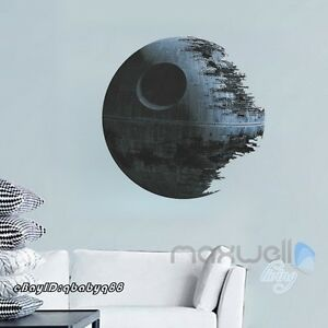 Star wars death star 3d wall decals removable kids for Death star wall mural