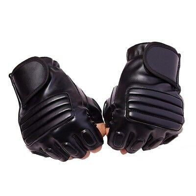 Mens Black Half Finger Leather Gloves Driving Fitness Tactical Fingerless Gloves