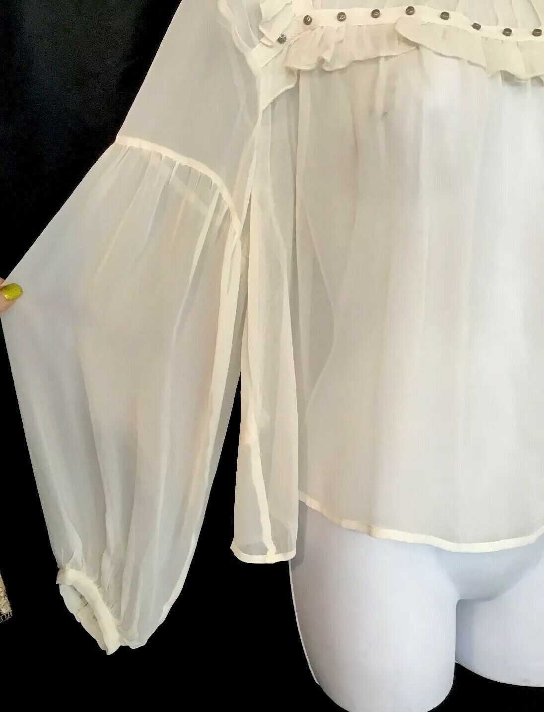 Flannel Silk Blouse Ivory Peasant Style Sheer Sil… - image 5