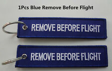 1Pcs Blue Remove Before Flight Tag Zipper Pull Keyring Embroidery Keychain DICA