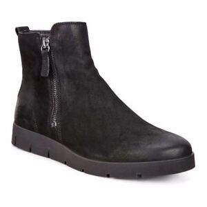 Details about Ecco Women's Ankle Boots Black Bella Nubuck Leather Zip Bootie Wedge Sz 41 NIB