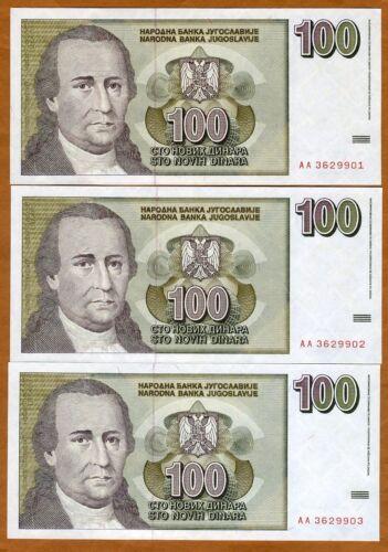 3 x 100 Novih Dinara LOT Yugoslavia AA-Prefix P-152 UNC Consecutive trio 1996