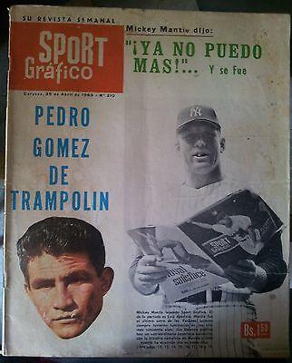 1969 SPORT GRAFICO MAGAZINE VENEZUELAN MICKEY MANTLE COVER HOF