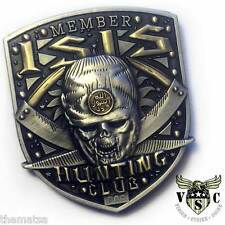 """MEMBER ISIS HUNTING CLUB SKULL MILITARY 2"""" CHALLENGE COIN"""