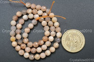 Natural Sunstone Gemstone Faceted Round Beads 6mm 8mm 10mm 12mm 14mm 16mm 15.5''