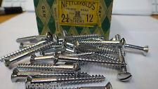 "10x NETTLEFOLDS 2 1/4"" x 12 CHROME ON BRASS RAISED HEAD SLOTTED WOODSCREW screws"