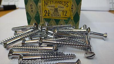 "10 x NETTLEFOLDS 1/"" x 12 CHROME ON BRASS ROUND HEAD SLOTTED WOODSCREW SCREWS"