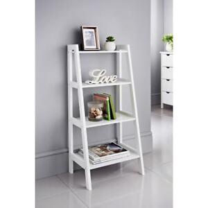 Image Is Loading 4 Tier White Grey Ladder Shelf Display Unit