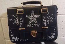 Stars Embroided Black Lolita Purse Handbag Shoulder Bag Backpack Like New