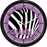 Personalized Purple & Black Zebra Print Girls Room Decor Wall Clock