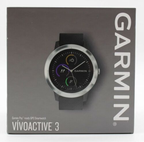 Garmin Vívoactive 3 GPS Fitness Tracking Smartwatch Black /& Stainless Steel NEW