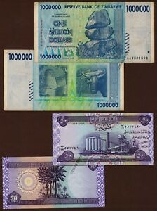 Details About 1 Million Zimbabwe Dollars Banknote X 50 Iraqi Dinar Note Authentic Currency
