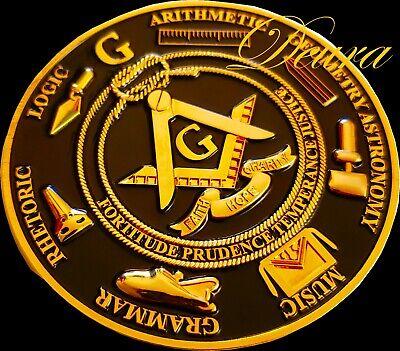 Freemason Masonic Love For Arts Car Emblem Heavy Zinc Alloy GOLD //// BLACK Finish