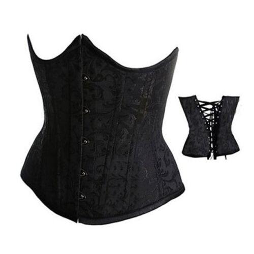 Womens Waist Training Brocade Boned Black Lace Bustier Basques Corset Hot S M L