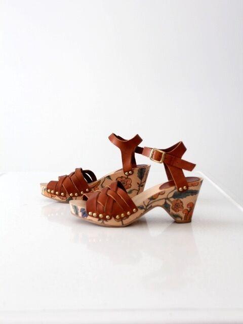 Isabel Marant floral wood platform sandals with leather & ankle straps Talla 7