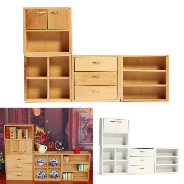 Mini Diy 1 12 Dollhouse Wood Furniture Cabinet Cupboard Wooden