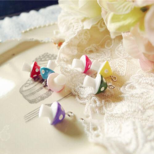30pcs DIY Charms Jewelry Necklace Making Accessory Simulation Mushroom Pendants