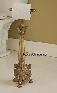 Old world ornate gold standing toilet paper holder stand french country tuscan ebay - Gold toilet paper holder stand ...