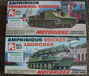 2-VINTAGE-ITC-AMPHIBIOUS-ROCKET-LAUNCHER-amp-PERSONNEL-CARRIER-MOTORIZED-MODEL