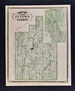 1876 Indiana Map Fulton County Rochester Mt Vernon Manitau Lake