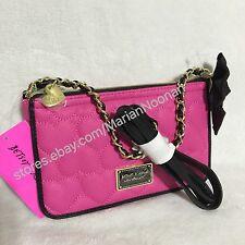 Betsey Johnson Fuchsia Black Stripe E/w Crossbody Purse Bag Pink ...