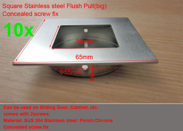 10xSquare Stainless steel Flush pull-Satin(65x65mm)