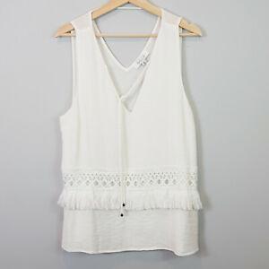 SHILLA-Womens-Boho-Tassel-White-Blouse-Top-Size-XL-or-AU-16-US-12