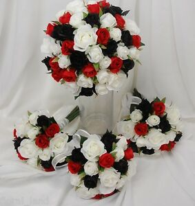 Silk Wedding Bouquet Black Red White Rose Posy Flowers Roses Flower
