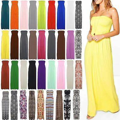 Womens Boobtube Gather Bandeau Sheering Maxi Ladies Strapless Long Maxi Dress