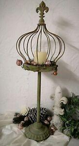 Deko-Krone-auf-Fuss-Metall-Lilie-Rose-Kerzenhalter-77cm-Shabby-Vintage-Landhaus