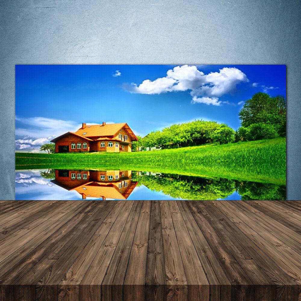 Crédence de cuisine en verre Panneau 140x70 Nature Maison Lac Herbe