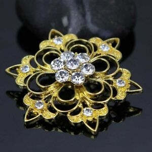 2Pcs-Gold-Clear-Glass-Rhinestone-Crystal-Flower-Buttons-DIY-Sewing-Craft-Decor