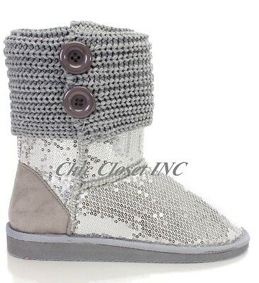 Women New Glitter Sequins Mid Calf Warm Winter Top Cuff Ankle Booties Boots
