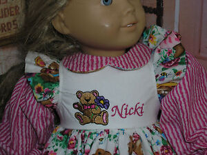 New-Nicki-Embroidered-Name-Teddy-Bear-Dress-18-034-Doll-clothes-fits-American-Girl