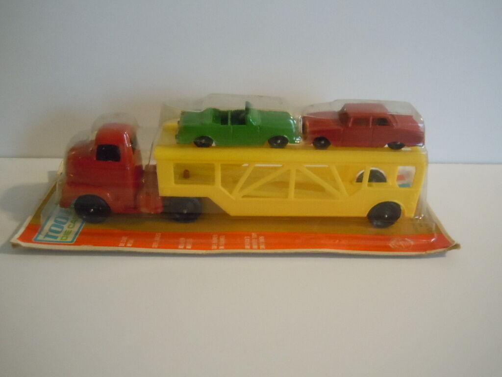 Vintage 1969 TOOTSIETOY Radio Control 180 Auto transporter avec voitures et rampe Comme neuf U.S.A.