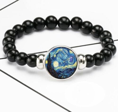 Vintage Van Gogh Starry Sky Photo Verre noosa snap Chunk élastique perles bracelet