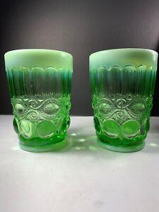 Mosser-USA-Green-Opalescent-Eyewinker-Winker-Glass-Tumbler-Two-Tone-4-Set-2