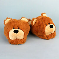Fuzzy Bear Slippers - Brown Animal Slippers For Men & Women