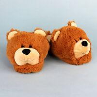 Fuzzy Bear Slippers - Brown Animal Slippers For Men & Women