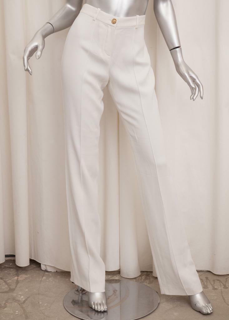 Versace Damen Klassisch Weiß Gerades Bein Hosen It 40 Us 4 DAMEN Nwt