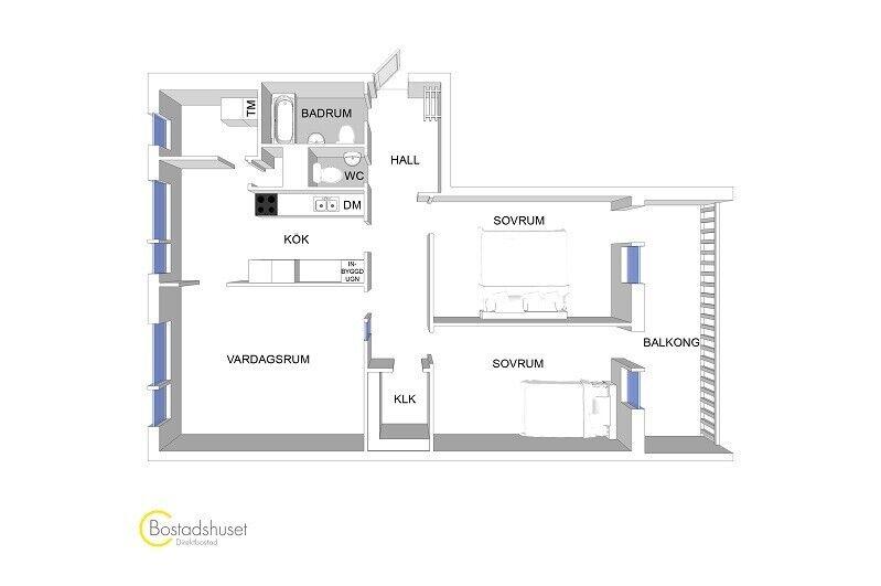 4 vær. andelslejlighed, 87 m2, Norrbäcksgatan 15 7