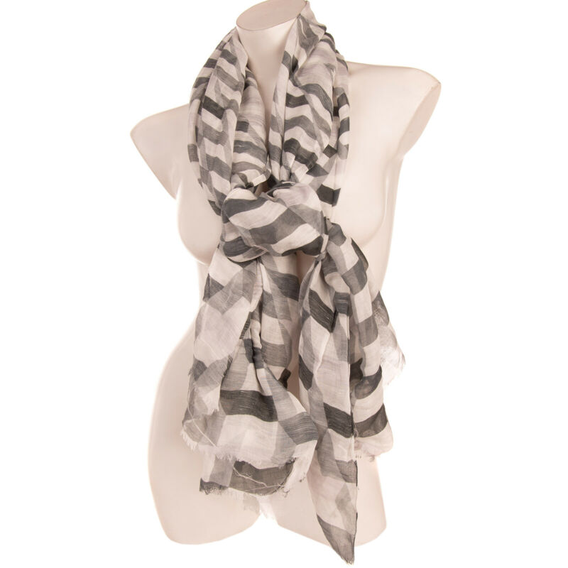 Rrp €200 Emporio Armani Shawl Wrap Scarf Silk & Linen Blend Frayed Made In Italy In Short Supply