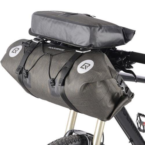 RockBros Waterproof Bicycle Roll Bag & Handlebar Bag Extra Large Capacity Black