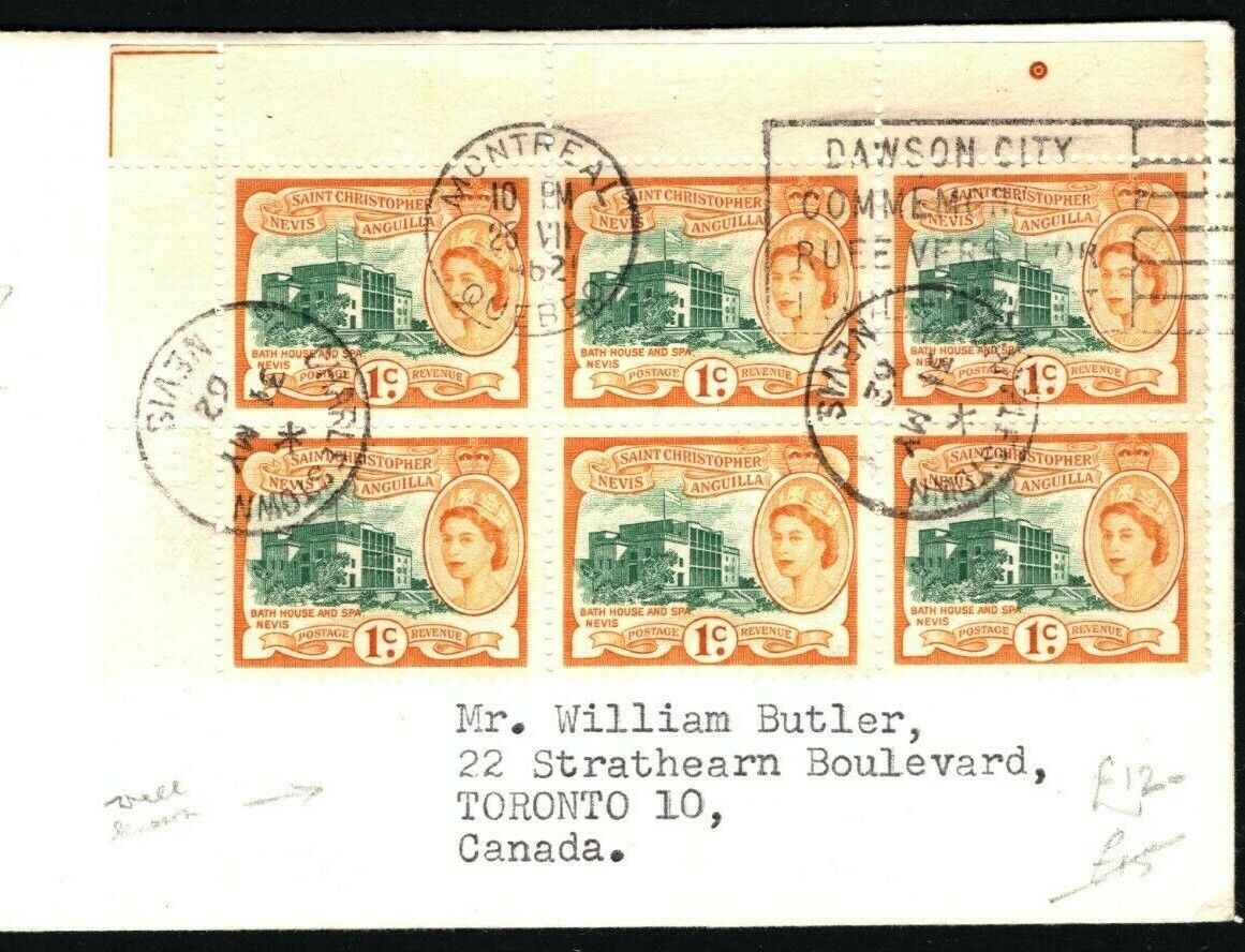 ST KITTS QEII Cover 1c Margin Block{6} CANADA Montreal CDS Toronto 1962 PB293