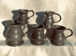 COLLECTION-OF-5-ANTIQUE-PEWTER-MEASURES-FROM-GILL-TO-QUARTER-GILL